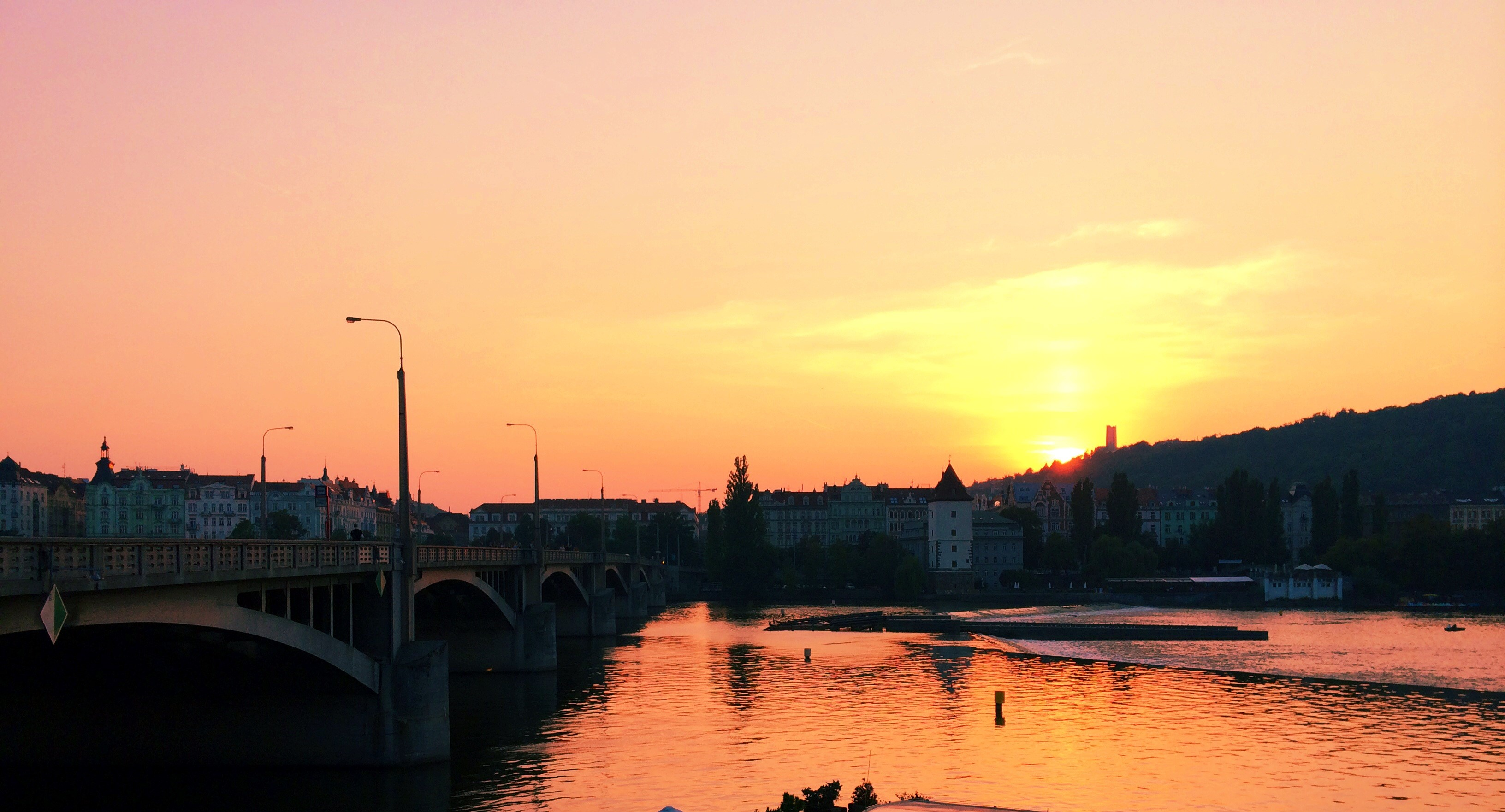 The Vltava River at sunset right by my dorm.
